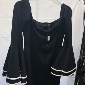 Off the shoulder bell sleeve midi dress